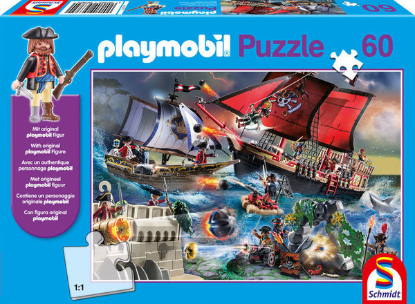 Schmidt Kinderpuzzle mit Playmobilfigur 56382 Piraten
